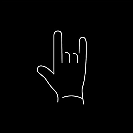 rock hand: vector modern flat design linear icon of rock hand gesture | white thin line pictogram isolated on black background