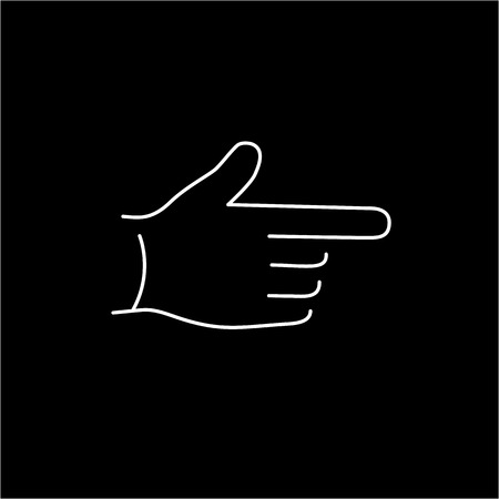 zooming: vector modern flat design linear icon of point finger hand gesture | white thin line pictogram isolated on black background
