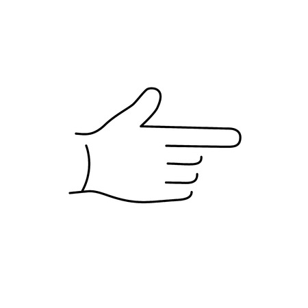 vector modern flat design linear icon of point finger hand gesture | black thin line pictogram isolated on white background Çizim