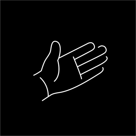zooming: vector modern flat design linear icon of open hand palm gesture | white thin line pictogram isolated on black background