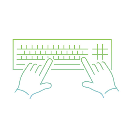 vector modern flat design linear icon of hand writing on keyboard gesture | thin line pictogram with green and blue gradient isolated on white background Illustration