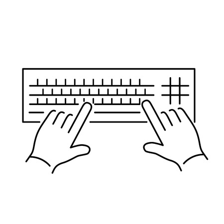 vector modern flat design linear icon of hand writing on keyboard gesture | black thin line pictogram isolated on white background