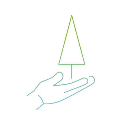 zooming: vector modern flat design linear icon of tree growing on hand | thin line pictogram with green and blue gradient isolated on white background