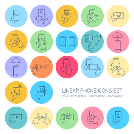multi touch: Vector linear phone and technology icons set with hand gestures and pictograms on touch screen | flat design thin line modern dark blue illustration and infographic isolated on multi color rounded background