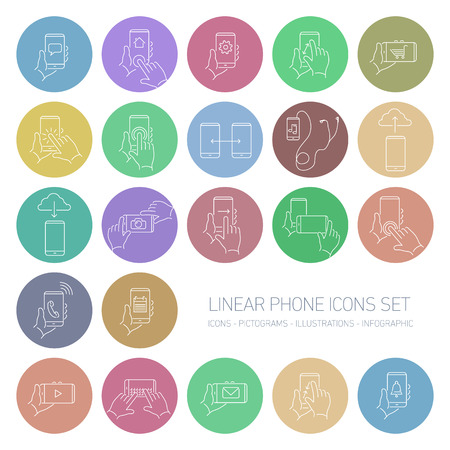 touch screen phone: Vector linear phone and technology icons set with hand gestures and pictograms on touch screen | flat design thin line modern white illustration and infographic isolated on color rounded background Illustration