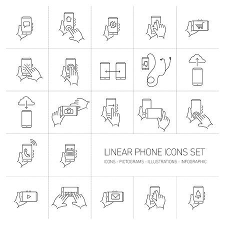 ベクトルの線形電話や技術アイコンを設定する手のジェスチャーとピクトグラムのタッチ スクリーン |フラットなデザイン細い線モダンな黒イラス