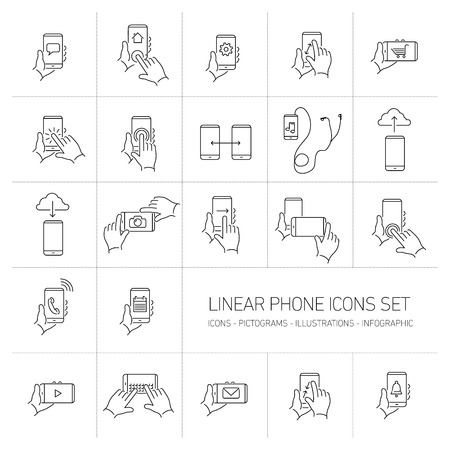 Vector linear phone and technology icons set with hand gestures and pictograms on touch screen | flat design thin line modern black illustration and infographic isolated on white background Vectores