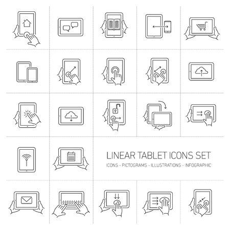 multitouch: Vector linear tablet icons set with hand gestures and pictograms on touch screen | flat design thin line black modern illustration and infographic isolated on white background Illustration
