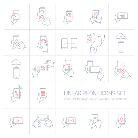 Vector linear phone and technology icons set with hand gestures and pictograms on touch screen | flat design thin line modern grey and red illustration and infographic on white background Vectores