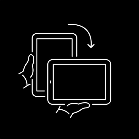 Vector linear icon with rotate tablet gesture from portrait to landscape screen mode | flat design thin line white modern illustration and infographic isolated on black background