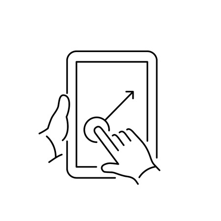 swipe: Vector linear tablet icon with one finger gesture swipe on touch screen | flat design thin line black modern illustration and infographic isolated on white background