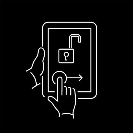 unlocking: Vector linear tablet icon with unlocking homescreen gesture | flat design thin line white modern illustration and infographic isolated on black background Stock Photo