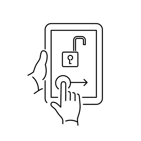 unlocking: Vector linear tablet icon with unlocking homescreen gesture | flat design thin line black modern illustration and infographic isolated on white background Stock Photo