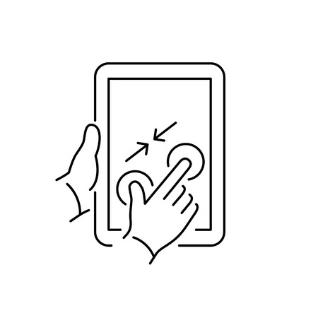 zoom out: Vector linear tablet icon with two fingers gesture pinch zoom out on touch screen | flat design thin line black modern illustration and infographic isolated on white background Stock Photo