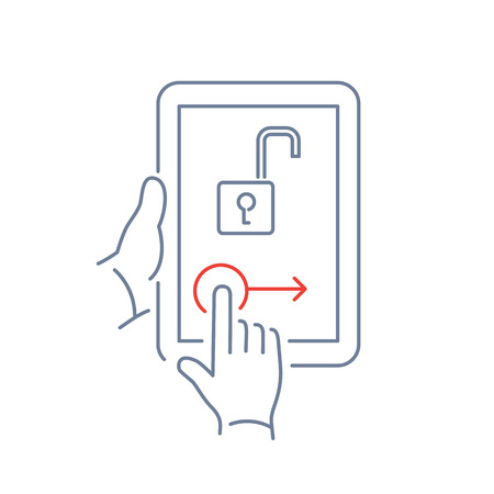 unlocking: Vector linear tablet icon with unlocking homescreen gesture | flat design thin line blue and red modern illustration and infographic isolated on white background
