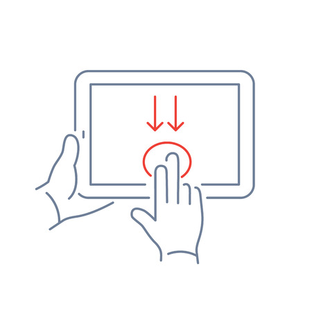 swipe: Vector linear tablet icon with two fingers gesture swipe from up to down on touch screen | flat design thin line blue and red modern illustration and infographic isolated on white background
