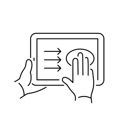 swipe: Vector linear tablet icon with three fingers gesture swipe from left to right on touch screen | flat design thin line black modern illustration and infographic isolated on white background