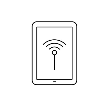 multitouch: Vector linear tablet icon with wifi signal | flat design thin line black modern illustration and infographic isolated on white background Illustration