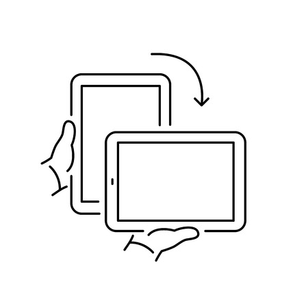 landscape mode: Vector linear icon with rotate tablet gesture from portrait to landscape screen mode | flat design thin line black modern illustration and infographic isolated on white background