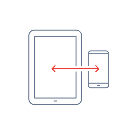 syncing: Vector linear icon with syncing tablet and smart phone | flat design thin line blue and red modern illustration and infographic isolated on white background Illustration