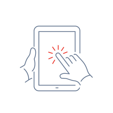 one finger: Vector linear tablet icon with one finger gesture tapping on touch screen | flat design thin line blue and red modern illustration and infographic isolated on white background
