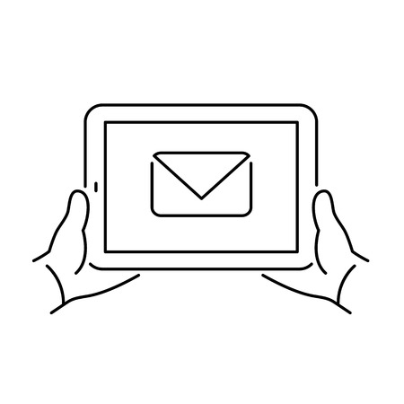 multitouch: Vector linear tablet icon with email envelope pictogram on touch screen | flat design thin line black modern illustration and infographic isolated on white background Illustration