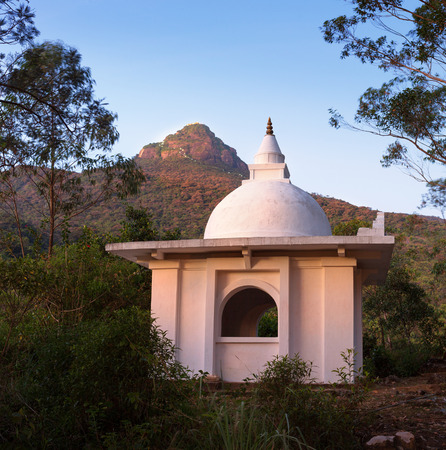 srilanka: The view on top of the mountain Adams Peak and temple at sunrise, Dalhousie, Srilanka, Asia Stock Photo