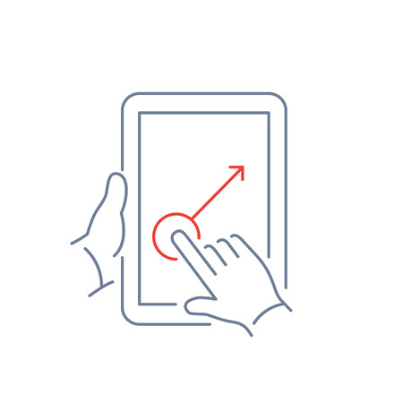 one finger: Vector linear tablet icon with one finger gesture swipe on touch screen | flat design thin line blue and red modern illustration and infographic isolated on white background