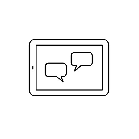 multitouch: Vector linear tablet icon with communication on screen | flat design thin line black modern illustration and infographic isolated on white background Illustration