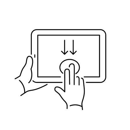 swipe: Vector linear tablet icon with two fingers gesture swipe from up to down on touch screen | flat design thin line black modern illustration and infographic isolated on white background Illustration