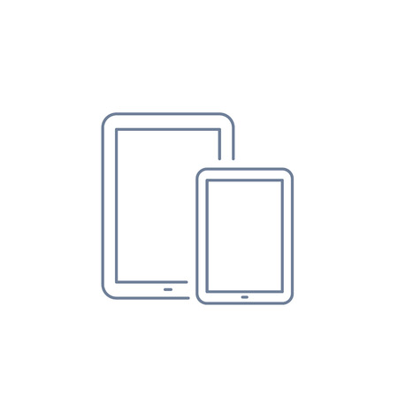multitouch: Vector linear icon with tablet and mini tablet | flat design thin line blue modern illustration and infographic isolated on white background Illustration