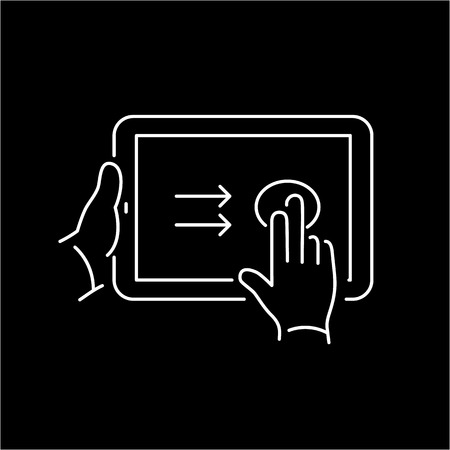 swipe: Vector linear tablet icon with two fingers gesture swipe on touch screen | flat design thin line white modern illustration and infographic isolated on black background