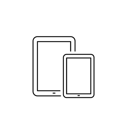 multitouch: Vector linear icon with tablet and mini tablet | flat design thin line black modern illustration and infographic isolated on white background