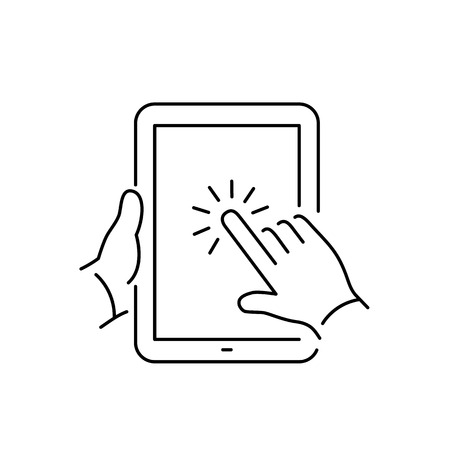 one finger: Vector linear tablet icon with one finger gesture tapping on touch screen | flat design thin line black modern illustration and infographic isolated on white background