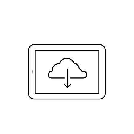 multitouch: Vector linear tablet icon with download backup from cloud | flat design thin line black modern illustration and infographic isolated on white background Illustration