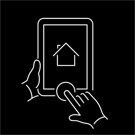 home button: Vector linear tablet icon with home button gesture | flat design thin line white modern illustration and infographic isolated on black background