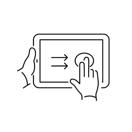 swipe: Vector linear tablet icon with two fingers gesture swipe on touch screen | flat design thin line black modern illustration and infographic isolated on white background Illustration