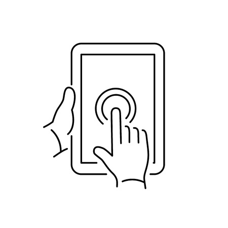 touch screen hand: Vector linear tablet icon with one finger double tapping gesture on touch screen | flat design thin line black modern illustration and infographic isolated on white background