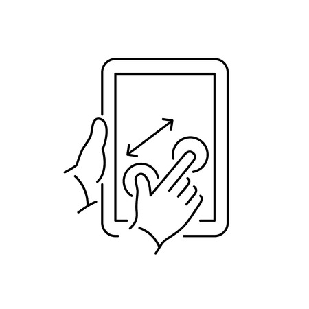 pinch: Vector linear tablet icon with two fingers gesture pinch on touch screen   flat design thin line black modern illustration and infographic isolated on white background Illustration