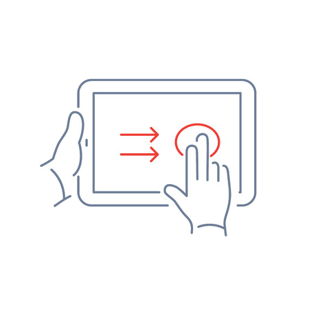 touch screen: Vector linear tablet icon with two fingers gesture swipe on touch screen | flat design thin line blue and red modern illustration and infographic isolated on white background Illustration