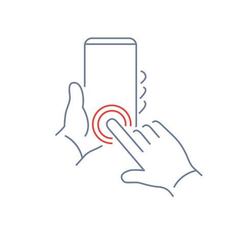 phone button: Vector linear phone and technology icons with hand double tapping home button gesture on smartphone | flat design thin line modern grey and red illustration and infographic on white background Illustration