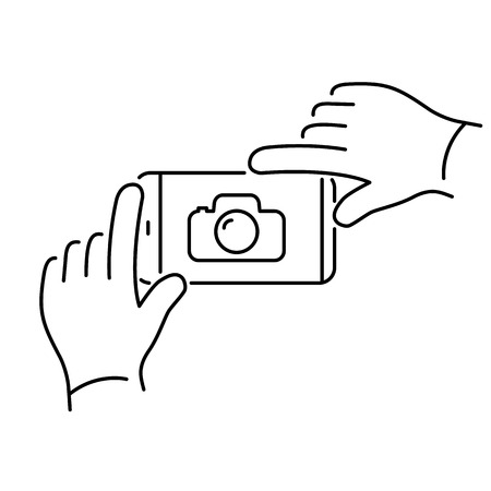 taking photo: Vector linear phone and technology icons with hands gesture taking photo with smartphone | flat design thin line modern black illustration and infographic on white background Illustration