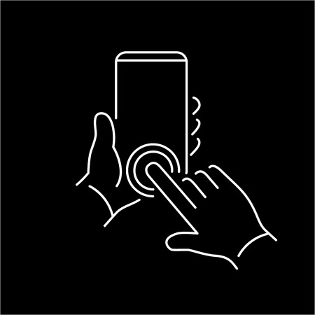 phone button: Vector linear phone and technology icons with hand double tapping home button gesture on smartphone | flat design thin line modern white illustration and infographic on black background Illustration