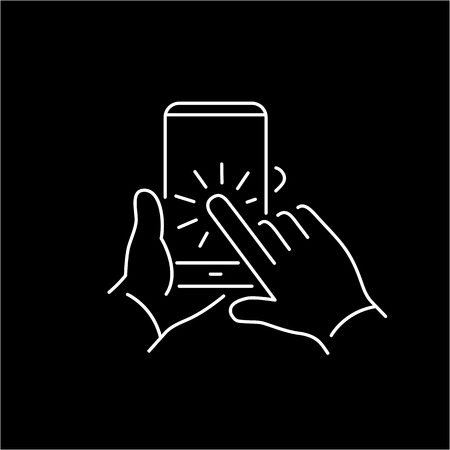 tapping: Vector linear phone and technology icons set with hand tapping on smart phone touchscreen with one finger gesture | flat design thin line modern white illustration and infographic on black background Illustration
