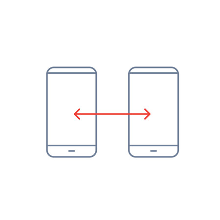 syncing: Vector linear phone and technology icons with syncing gesture transfering between two smartphones | flat design thin line modern grey and red illustration and infographic on white background