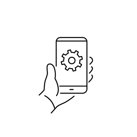 background settings: Vector linear phone and technology icons with settings gear icon on phone screen in hand | flat design thin line modern black illustration and infographic on white background Illustration