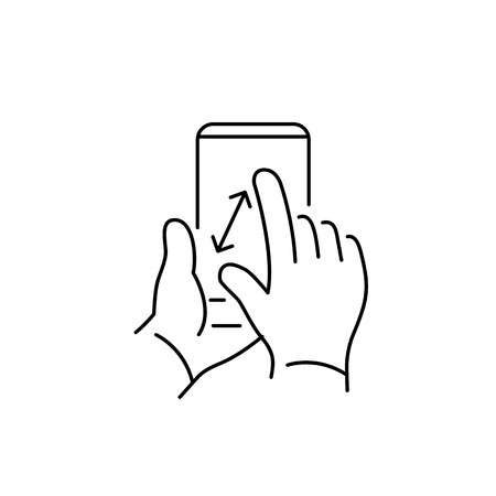 zoom: Vector linear phone and technology icons with pinch zoom gesture with two fingers on smartphone touchscreen | flat design thin line modern black illustration and infographic on white background Illustration
