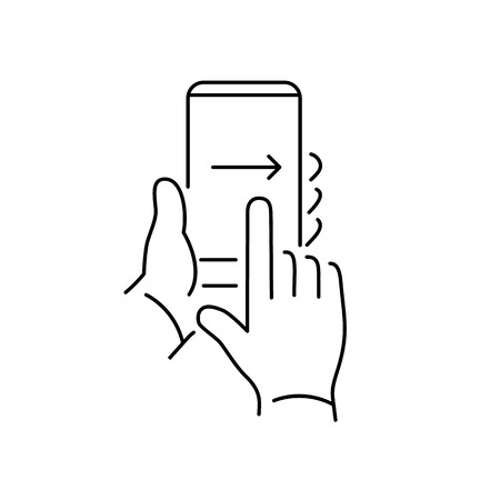 Vector linear phone and technology icons with hand gesture swipe with one finger from left to right side on smartphone touchscreen | flat design thin line modern black illustration and infographic on white background