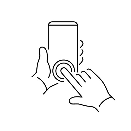 phone hand: Vector linear phone and technology icons with hand double tapping home button gesture on smartphone | flat design thin line modern black illustration and infographic on white background