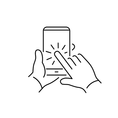 one finger: Vector linear phone and technology icons set with hand tapping on smart phone touchscreen with one finger gesture | flat design thin line modern black illustration and infographic on white background Illustration